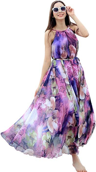 6e00f1cdb7fe9 Amazon.com: Medeshe Women's Chiffon Floral Holiday Beach Bridesmaid Maxi  Dress Sundress (Medium, Purple Floral): Clothing