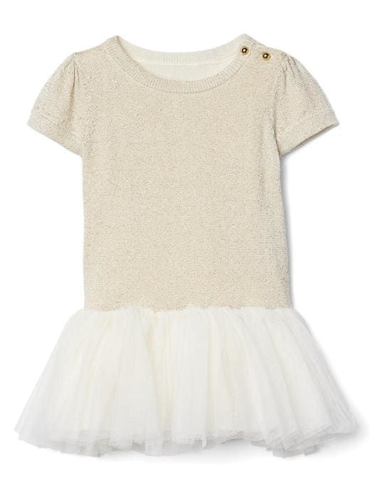 Gap Baby Shimmer Tutu Dress Ivory Frost Size 6-12 M
