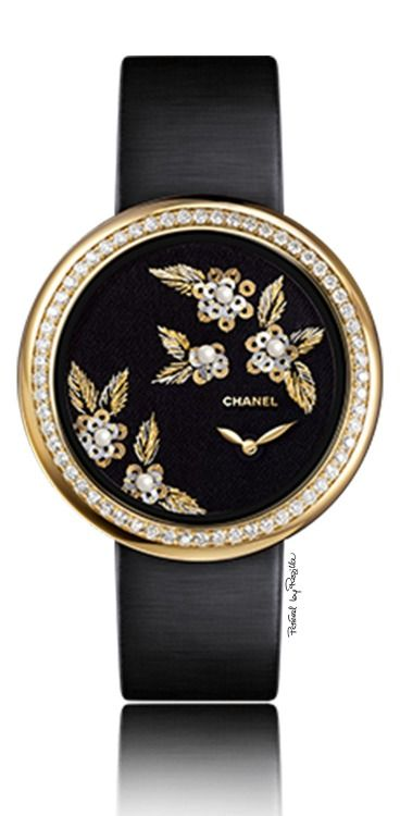 Chanel ~ Black Face Timepiece Diamonds