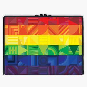 'Rainbow Geometric' Laptop Sleeve By Fimbis   Snupped #geometric #stripes #orange #macbook #macbookpro #Lenovo #fashion #red #yellow #green #blue #purple #lgbtq #pride