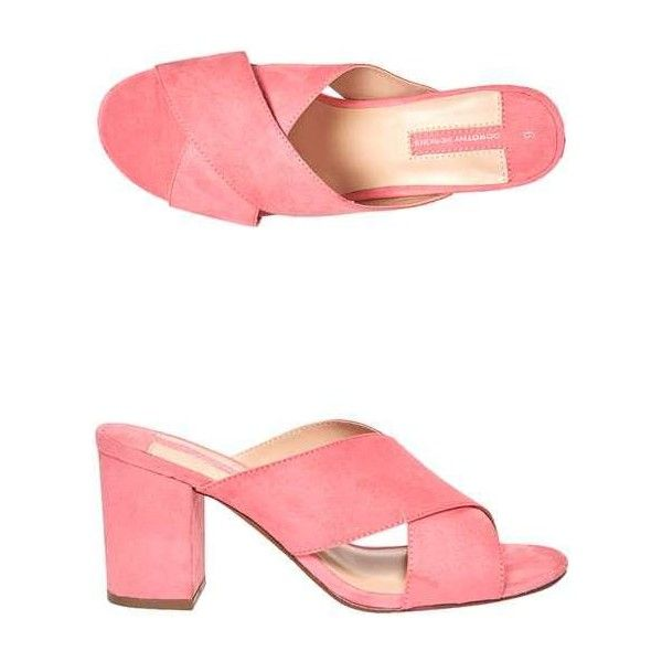 Dorothy Perkins Pink 'Sam' Cross Over Mules ($45) ❤ liked on Polyvore featuring shoes, heels, heeled mules, high heel shoes, high heel mules, strappy high heel shoes and strappy shoes