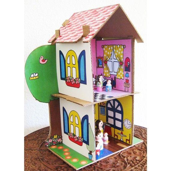 Dollhouse pele PDF impressão em papel - Padrão Dollhouse cartão vendido separadamente