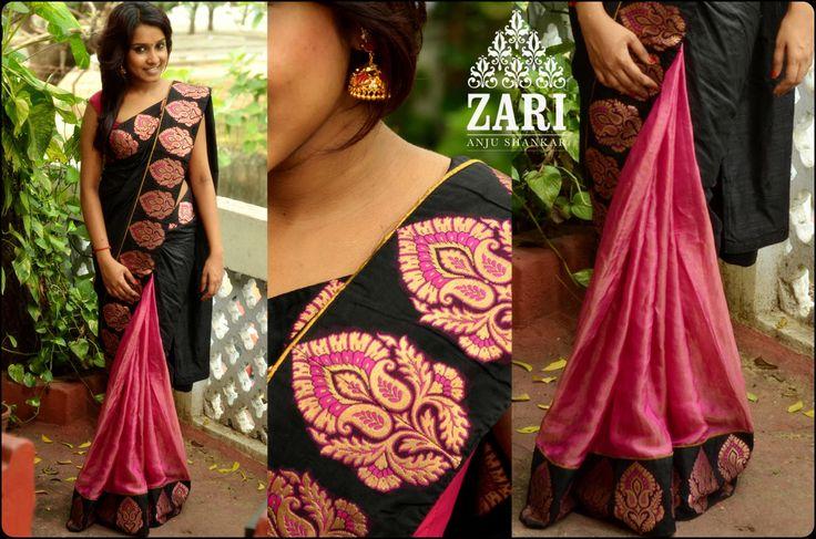 Pink and black half and half saree by Zari