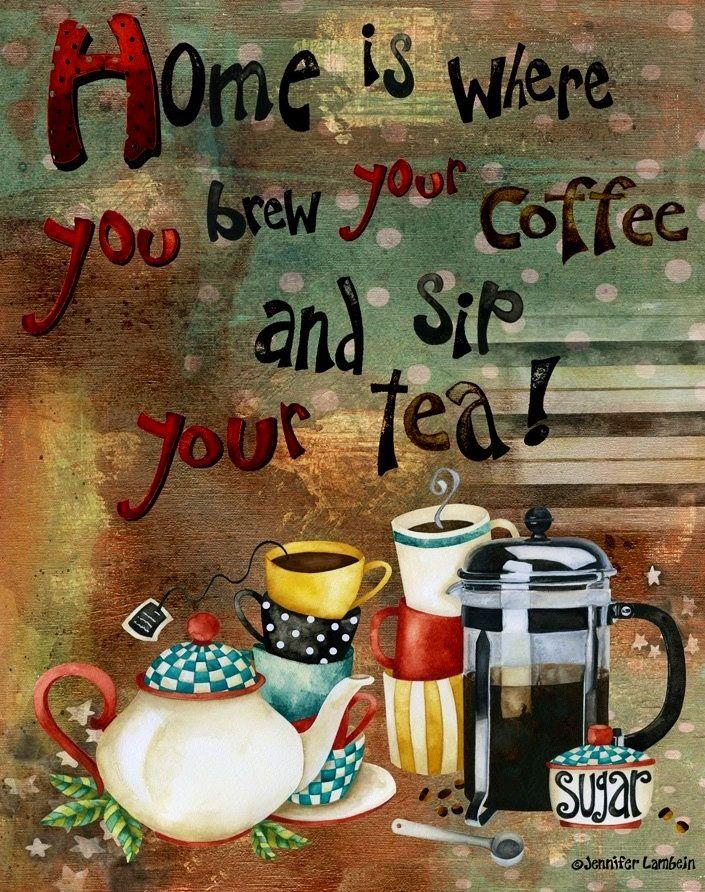 Coffee and tea illustration art by Jennifer Lambein via www.Facebook.com/JenniferLambeinStudioPetite