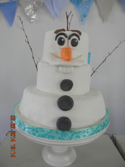 Love this cake from a Frozen birthday party! See more party ideas at CatchMyParty.com!