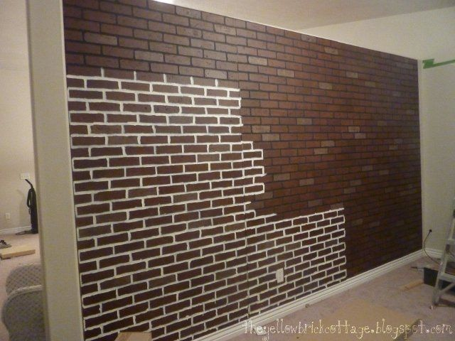 Poured Basement Painted To Look Like Brick How I