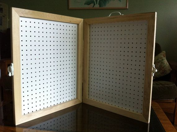 Handmade Framed Pegboard Display Case w. High Quality Hardware. Appx 24 x 20 and 2 thick when closed. Great for displaying jewelry at craft shows