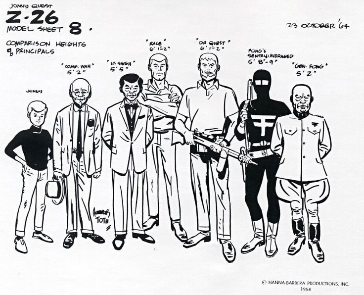 Jonny Quest Model Sheet #8 - Height Comparisons by Alex Toth