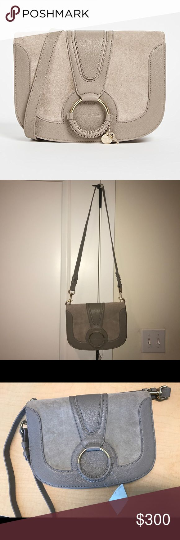 """NEW See by Chloe Hana Medium Shoulder Bag Still sold full price in stores. This item was purchased from Nordstrom rack with worn & refinished tag but I've never worn it. as you can see, the color looks different depending on lighting. The only difference between mine and the stock photo is that small key charm from loop is missing. Color is called motty grey. Hardware is gold.  Detachable shoulder strap Magnetic flap closure; lined Interior slip compartment, interior slip pocket 10.25""""W x…"""