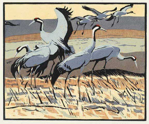 Robert Greenhalf (1950 - ) Sandhill Cranes, woodcut