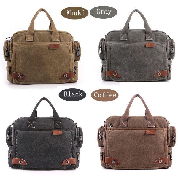 Mens Canvas Casual Multifunctional Shoulder Bags Crossbody Vintage Handbag