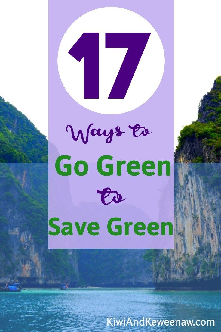 Go Green to Save Green 17 ways to save money and protect the environment. Are you looking to live more sustainably but don't want to spend a bunch of money. Here are some great frugal eco-friendly tips just in time for #earthday #frugal #sustainable #sustainability #frugalliving #energy Kiwi and Keweenaw is great