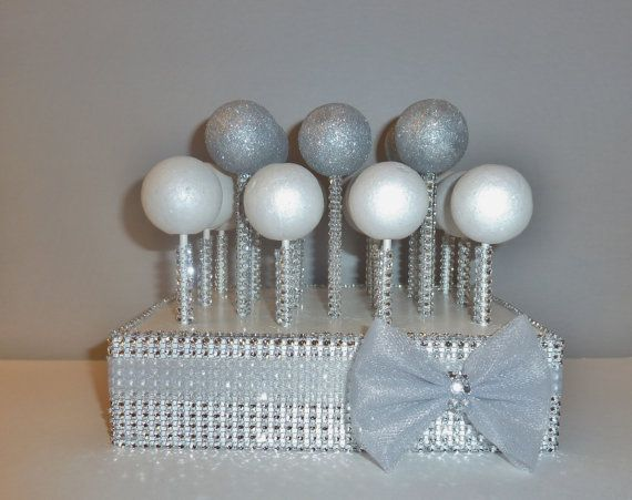 grey tulle bow silver rhinestone bling cake pop stand stick white wedding candy table display baby shower baptism christening anniversary on Etsy, $25.00