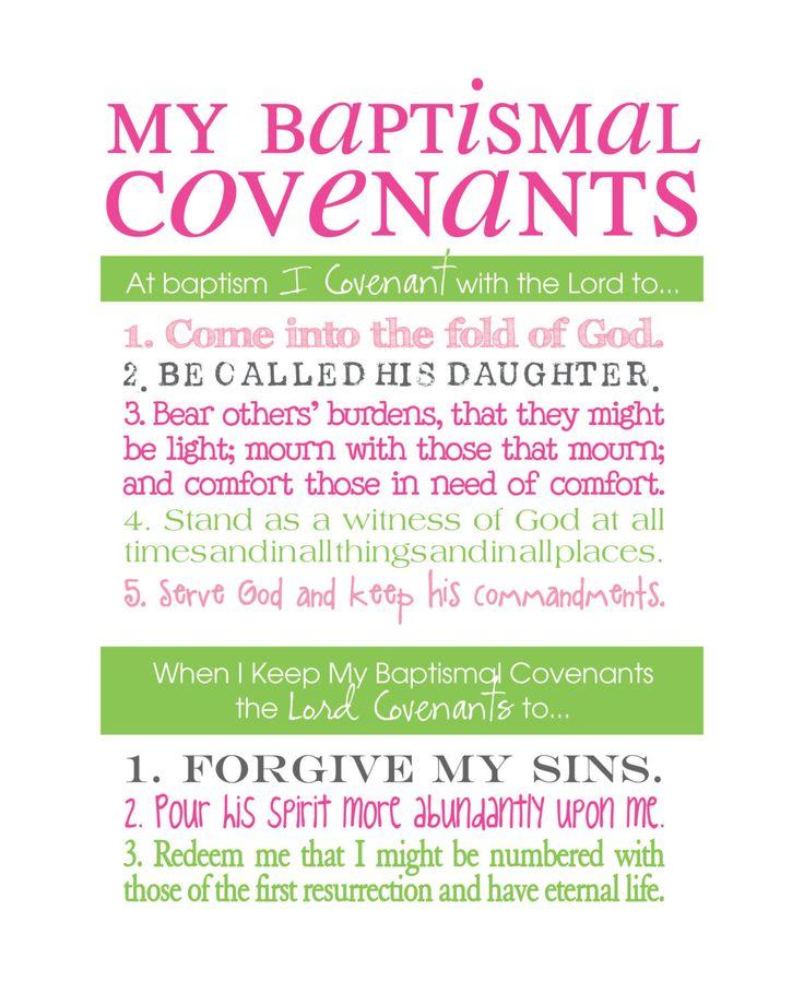 LDS Baptismal Covenants / Promise Printable Girl