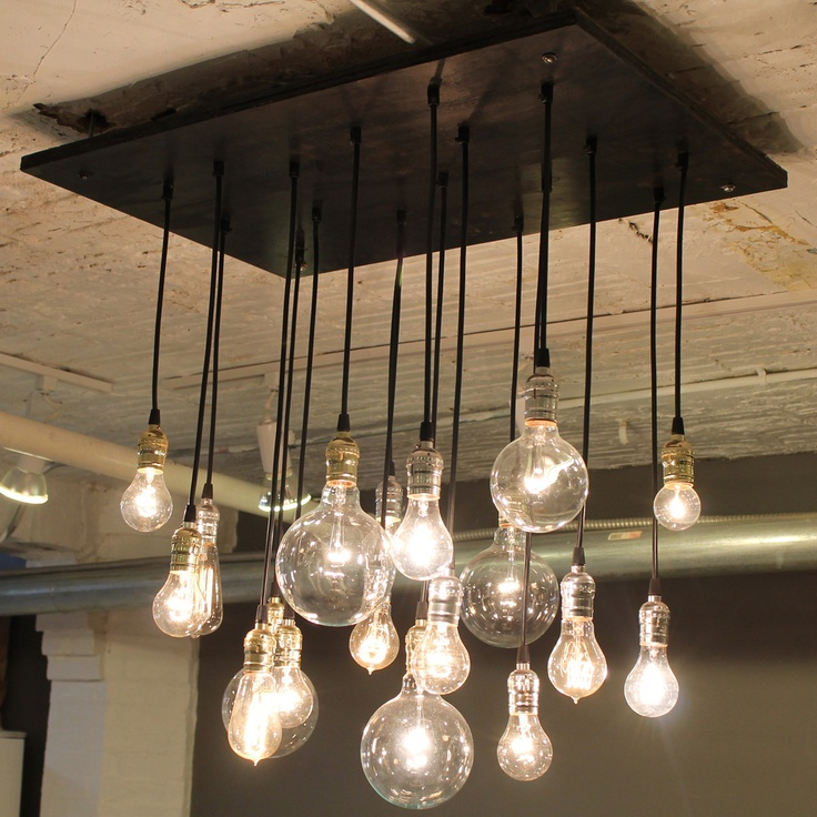 Medium Urban Chandelier Designer Cassidy Brush's company Urban Chandy channels her fascination with dramatic light fixtures into industrial-chic chandeliers made of reclaimed wood and lamp parts. This selection includes vintage-style multi-bulb beauties and a piece by RACEPONYstudio that shines with a contemporary edge.
