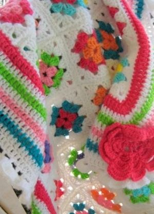 So like all those crafty people who are into stitchery; knitting, crocheting, needlepoint.  Love the happy colors.
