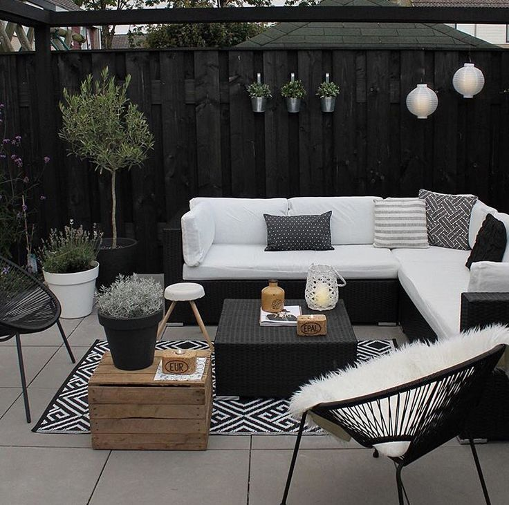 Terrasse, modern, schick, weiß, Sofa, Lounge, Sessel, Holz, Pflanzen
