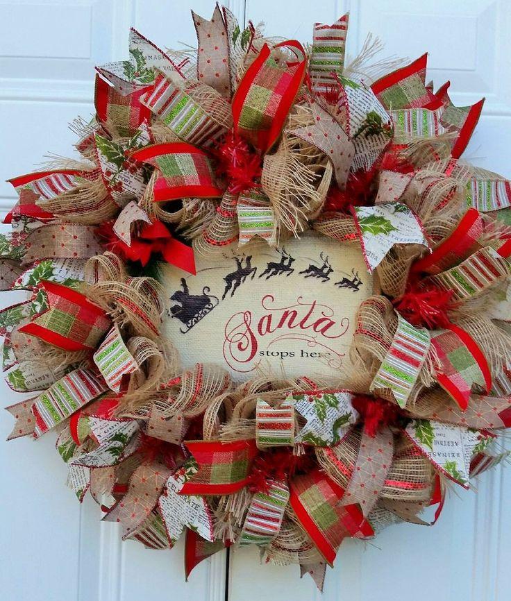Burlap Christmas Wreath-Santa Stops Here Christmas Wreath-Christmas Door Wreath-Holiday Door Wreath-Christmas Mesh Wreath-Porch Wreath by StudioWhimsybyBabs on Etsy