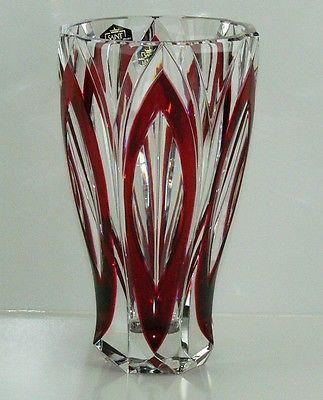 "6.75"" St Louis Crystal France Red Art Glass Crystal Vase Mint   eBay"