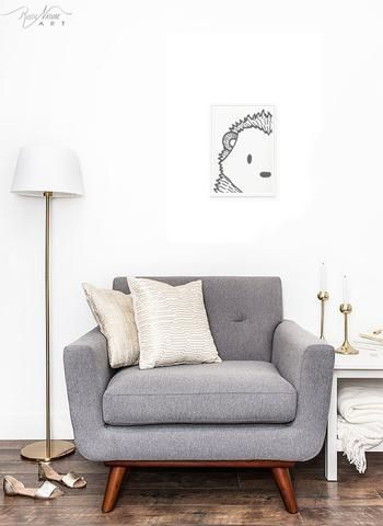 PIN IT to your home decor board. Stylish Black&White Hedgehog Face - Wall Art Print from Woodland to a Modern Minimalist Home Decor – RusticNatureArt.com