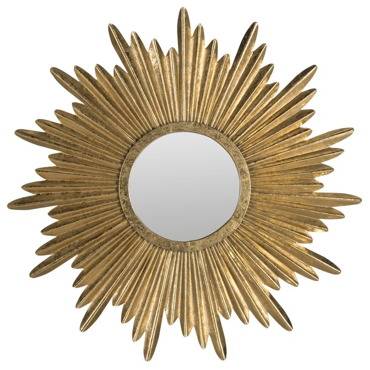 Evoking timeless French elegance, the Josephine Sunburst mirror recalls the grandeur of the Tuileries palace in Paris. Crafted of iron and wood artfully finished in antique gold, this mirror makes an intriguing statement in a living room or foyer.