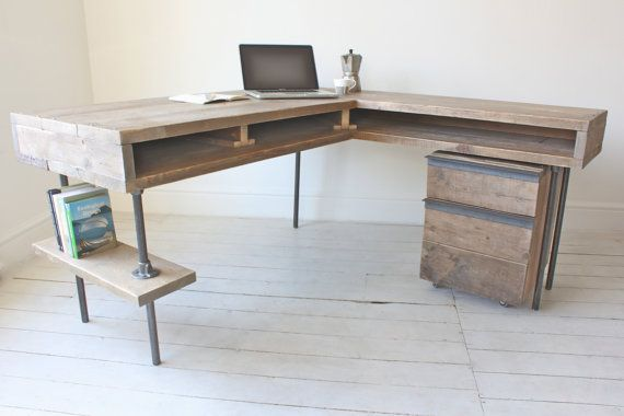 Stuart Reclaimed Scaffolding Board Industrial Corner L-Shaped Desk with Built In Storage and Steel Legs - Matching Filing Cabinet Optional