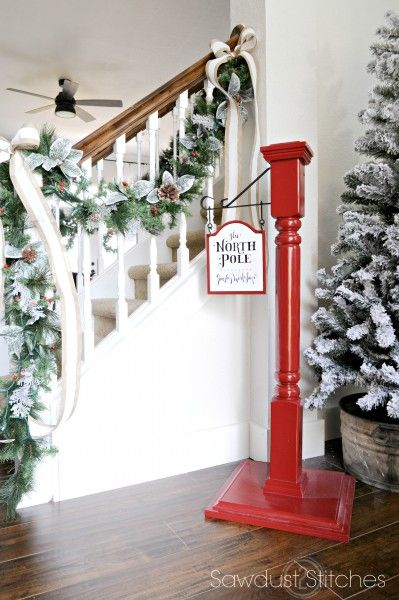 "Holiday Home Tour  with build plans to make your own ""North Pole/StockingPost"" 2016"
