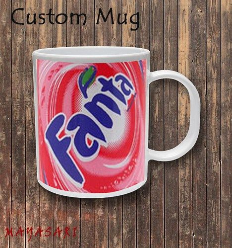 Fanta Strawbery - Softdrink Soda Custom Mug Coffee or Tea  Your favorite photo or funniest saying is a great way to start the day. Use our white custom mug to showcase your creativity. It has a large