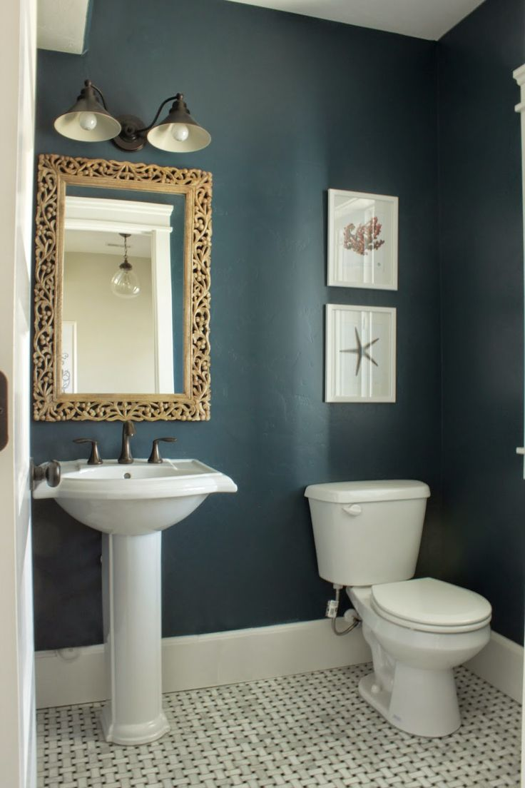 The half bath in Amber s Idaho Falls home looks stunning in Rainstorm SW  6230  Navy Small BathroomPainting. 17 Best ideas about Small Bathroom Paint on Pinterest   Small