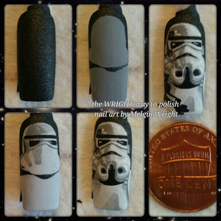 Star Wars / Star Trooper step by step  hand painted nail art by Melgin Wright!http://www.facebook.com/TheWrightWayToPolishNailArtByMelginWright