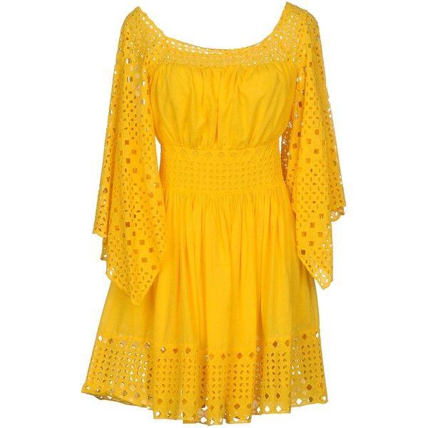 Plein Sud Jeanius Short Dress ($240) ❤ liked on Polyvore featuring dresses, yellow, short dresses, yellow mini dress, long sleeve short dress, yellow lace dress and long-sleeve lace dresses