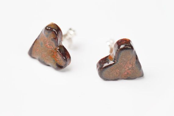 Small Bleeding Heart Ceramic Stud earrings on sterling silver posts on Etsy, $25.00