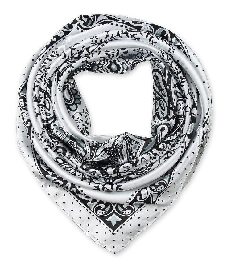 "corciova Women's Neckerchief Large Square Silk Like Scarf Headdress 35""x35"" Totem Black and White"