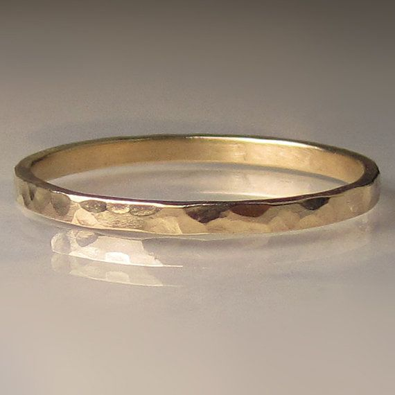Women's Gold Wedding Band Hammered 14k Yellow Gold by JanishJewels