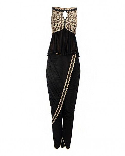 Black Peplum Top and Dhoti Pants