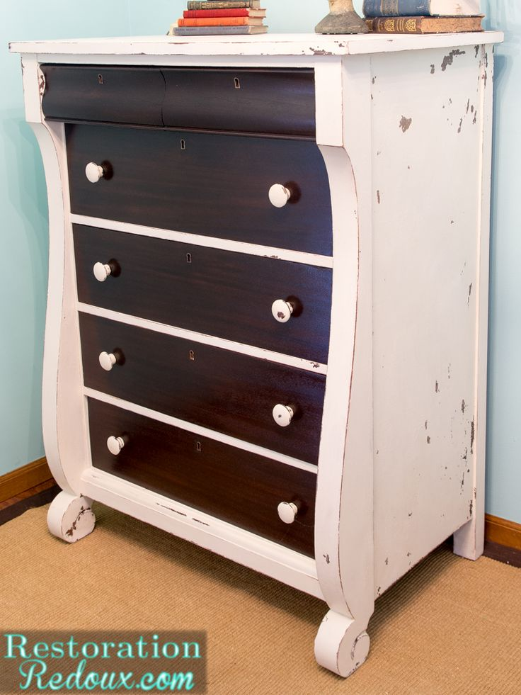 Two Toned Ivory Plaster Painted Dresser