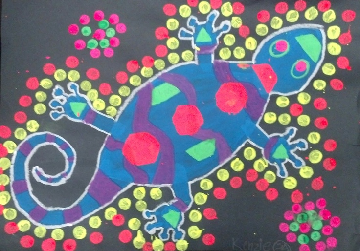 Art with Mrs. Seitz: 3rd Grade Australian Dot Painting/ x-ray painting. My students did this project with dowel rods and neon tempera paint.
