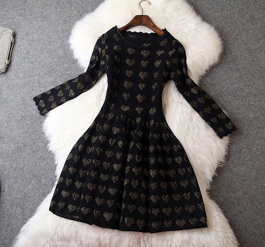 Long Sleeve Knitted Dress with Heart Print in Black