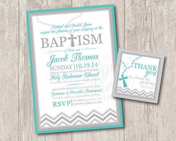 Printable Baby Boy Baptism Invitations With Rosary FREE Matching Thank You Tag Chevron Or Christening Invitation