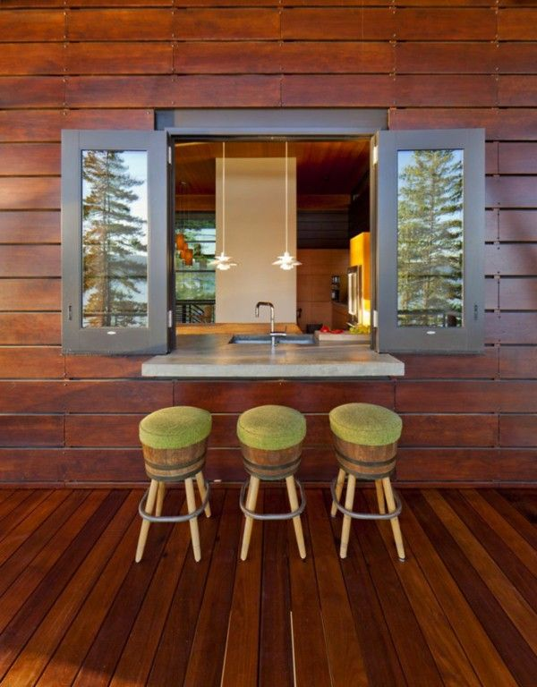 An elegant residence overlooking the Lake wood stool sink