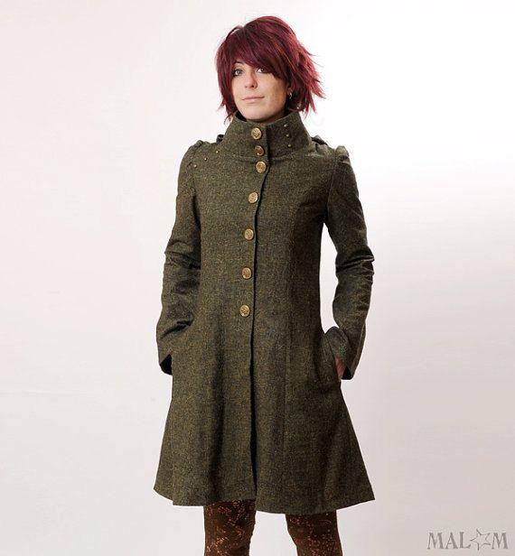 Steampunk Coat, Womens green coat with Goblin Hood and tall collar - Khaki green - Military fashion - CUSTOM SIZE