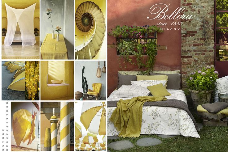 #moodboard of Mediterranean Zenith world from Bellora Spring Summer Collection: #yellow and #mud color. Italian style and made in Italy since 1883  #bellora #