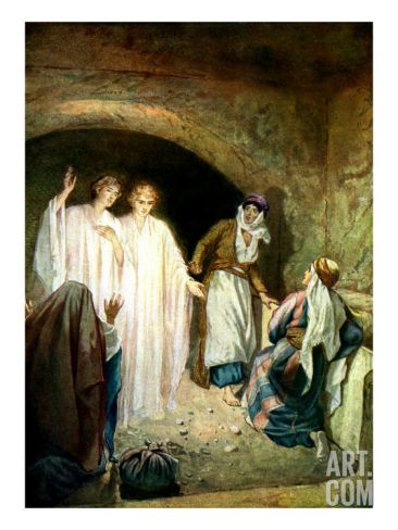 Jesus' tomb is found empty, and two angels explain that Jesus is risen Giclee Print by William Brassey Hole at Art.com