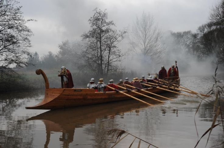 A Roman military patrol boat, part of a fleet that was based on the Rhine. Replica after the Ship Fund in Roman Civis Mogontiacum in Mainz, Germany.