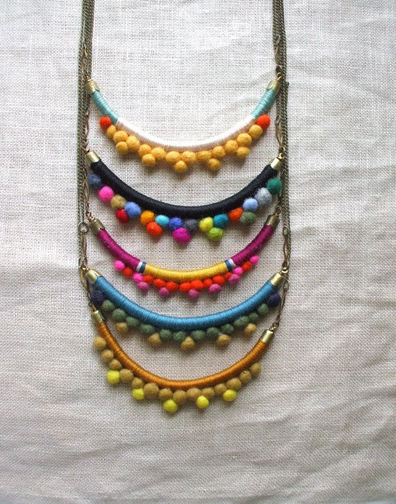Necklace--Handmade with Felted Wool Pom Poms, Cotton, Leather, and Brass