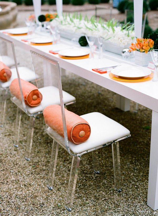 Modern table / Party decor / lucite chairs / orange + white