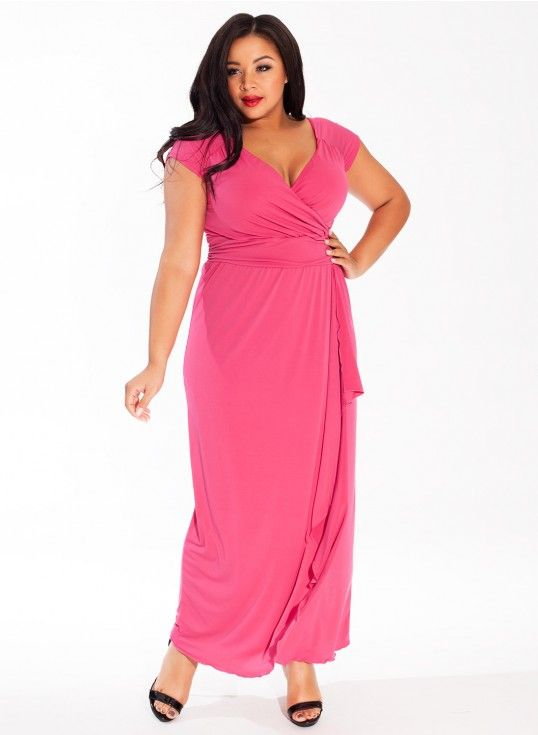 Blake Plus Size Gown in Bright Rose
