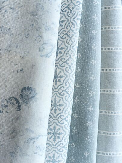 Charlotte, Lakshmi, Sprigs and Jetty Stripe by Peony and Sage Fabrics. Beautiful linens.