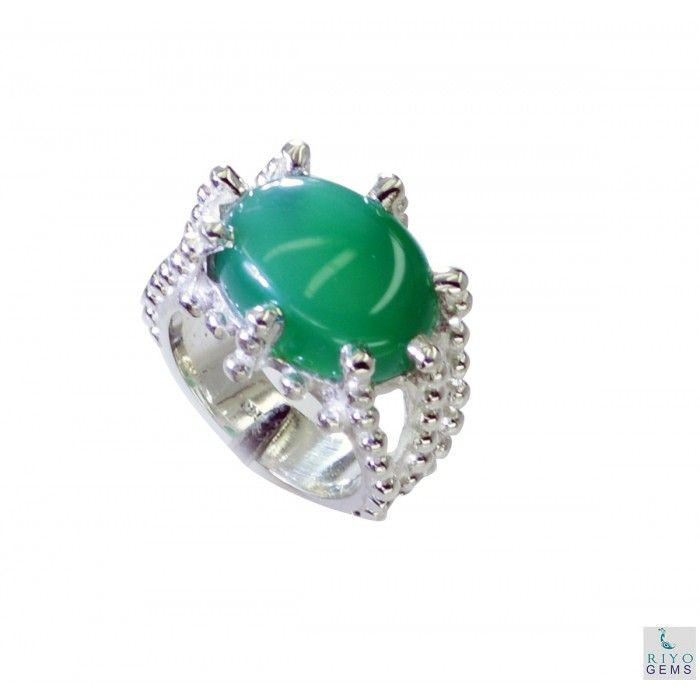 Riyo Cooperative Green Onyx 925 Solid Sterling Silver Green Ring Srgon6-30002