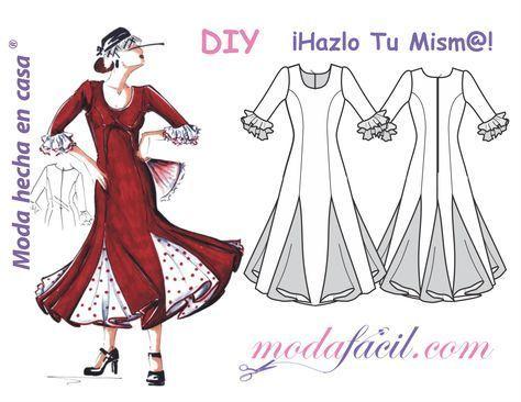 Descarga gratis los patrones del Vestido de Fiesta Flamenca disponible en 12 tallas individuales listas para poner sobre la tela y cortar Tallas EXTRAGRANDES